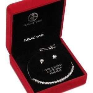 Bernini 2-Pc Set Zirconia Bracelet & Earrings